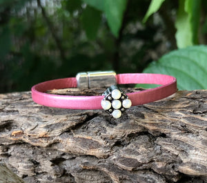 Leather Bracelet - Rose Leather with Opal Crystal slider