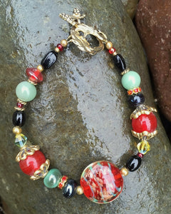 Lampwork Glass Bracelet - Smokey Green Red and Black