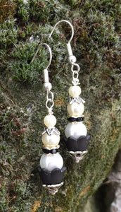 Stacked Pearls with Black Crystal Earrings