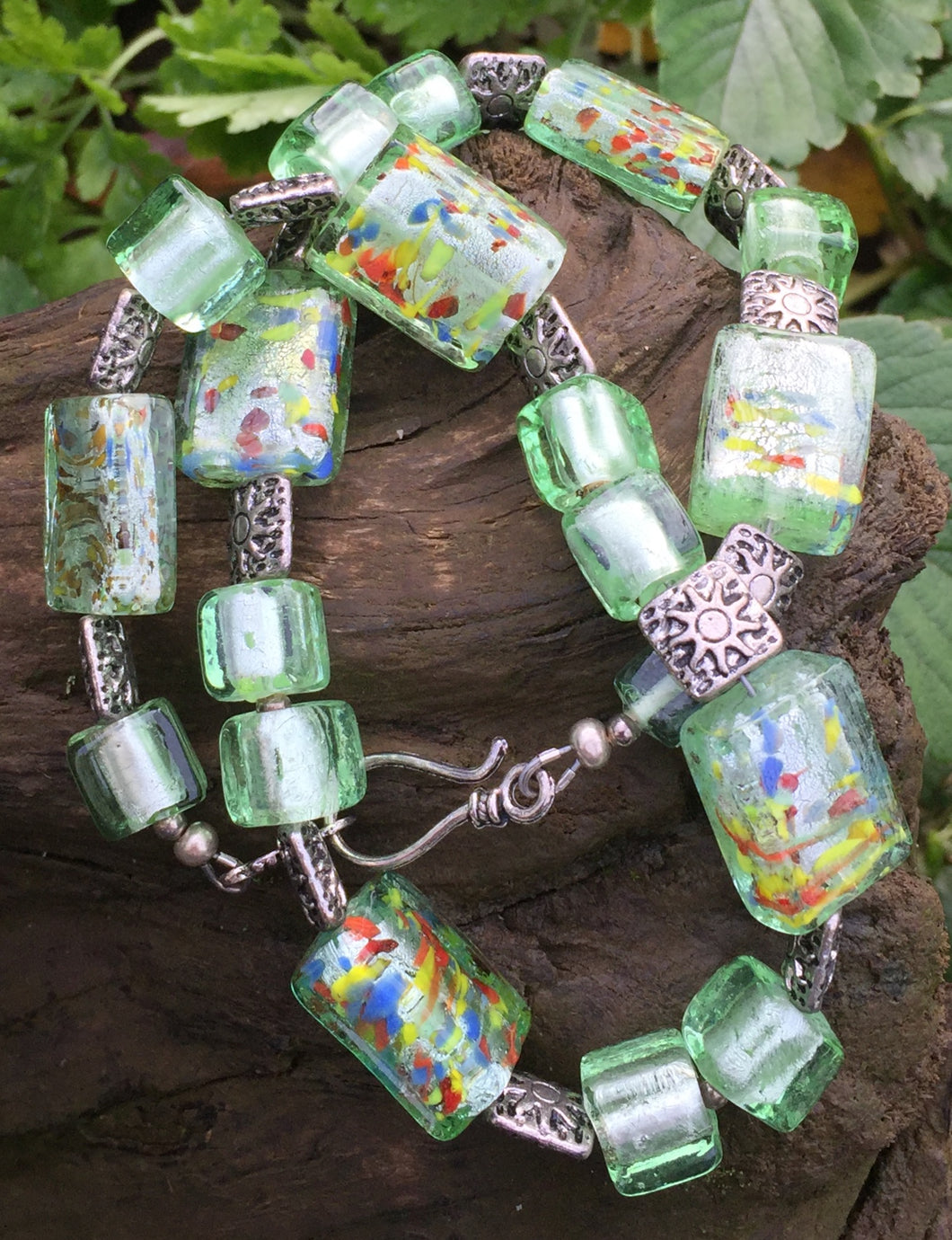 Lampwork Glass Necklace - Spring Green Confetti