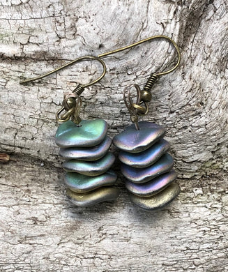 Stacked Iridescent Disc Earrings