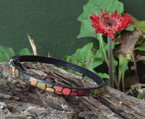 Leather Bracelet - Italian Stained Glass