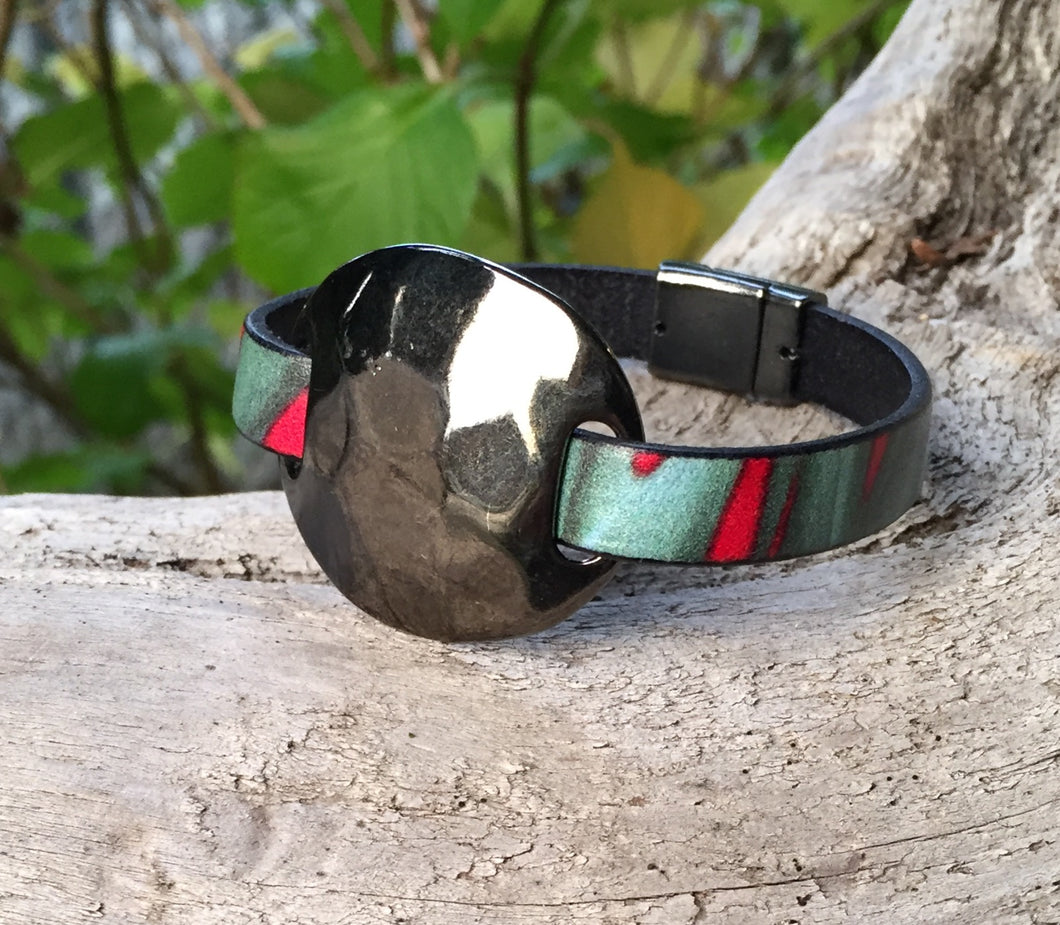 Leather Bracelet - Italian Printed Teal and Red with Gunmetal Disc