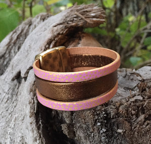 Leather Bracelet - Triple band Dark Gold and Champagne Pink