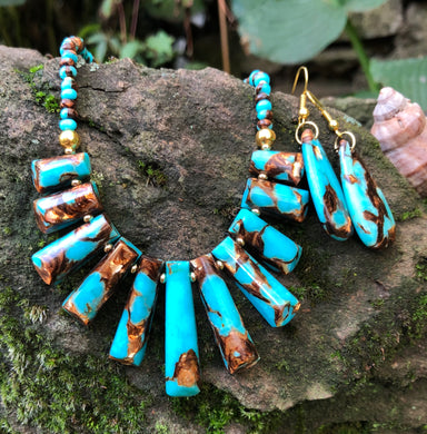 Mineral Necklace - Turquoise and Bronze Bib with Earrings