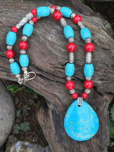 Mineral Necklace - Blue Turquoise and Red Coral