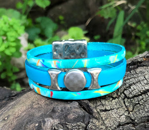 Leather Bracelet - Turquoise Leather times 3