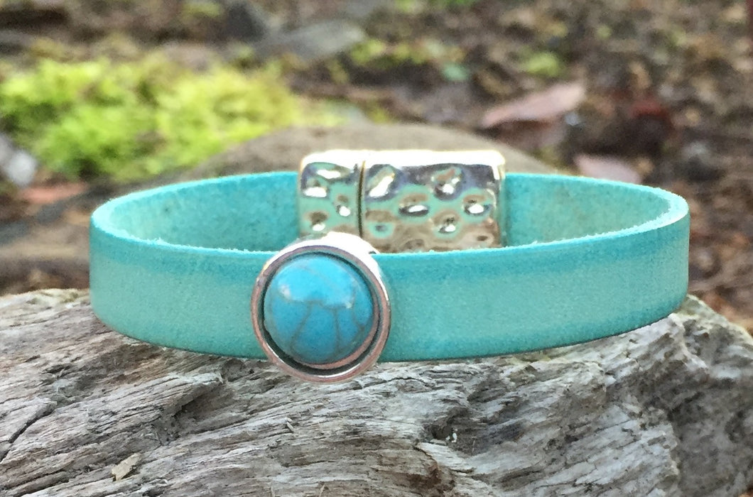 Leather Bracelet  - Turquoise with Turquoise Bling