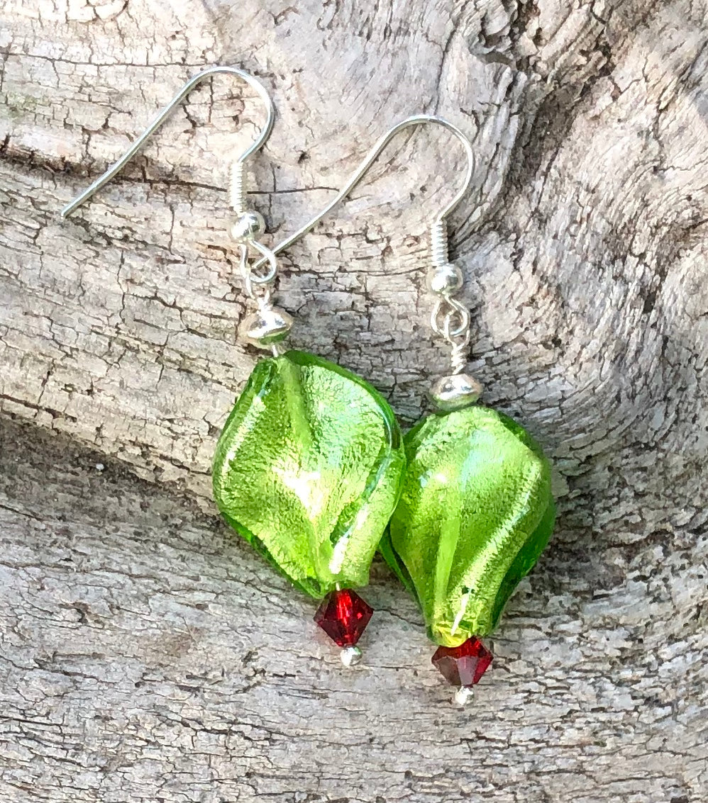 Twisted Green Lampwork Glass Earrings