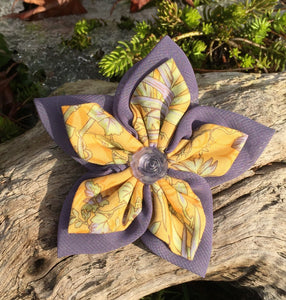 Fabric Flower - Periwinkle Bamboo print