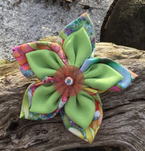 Load image into Gallery viewer, Fabric Flower - Spring Print with Pale Green