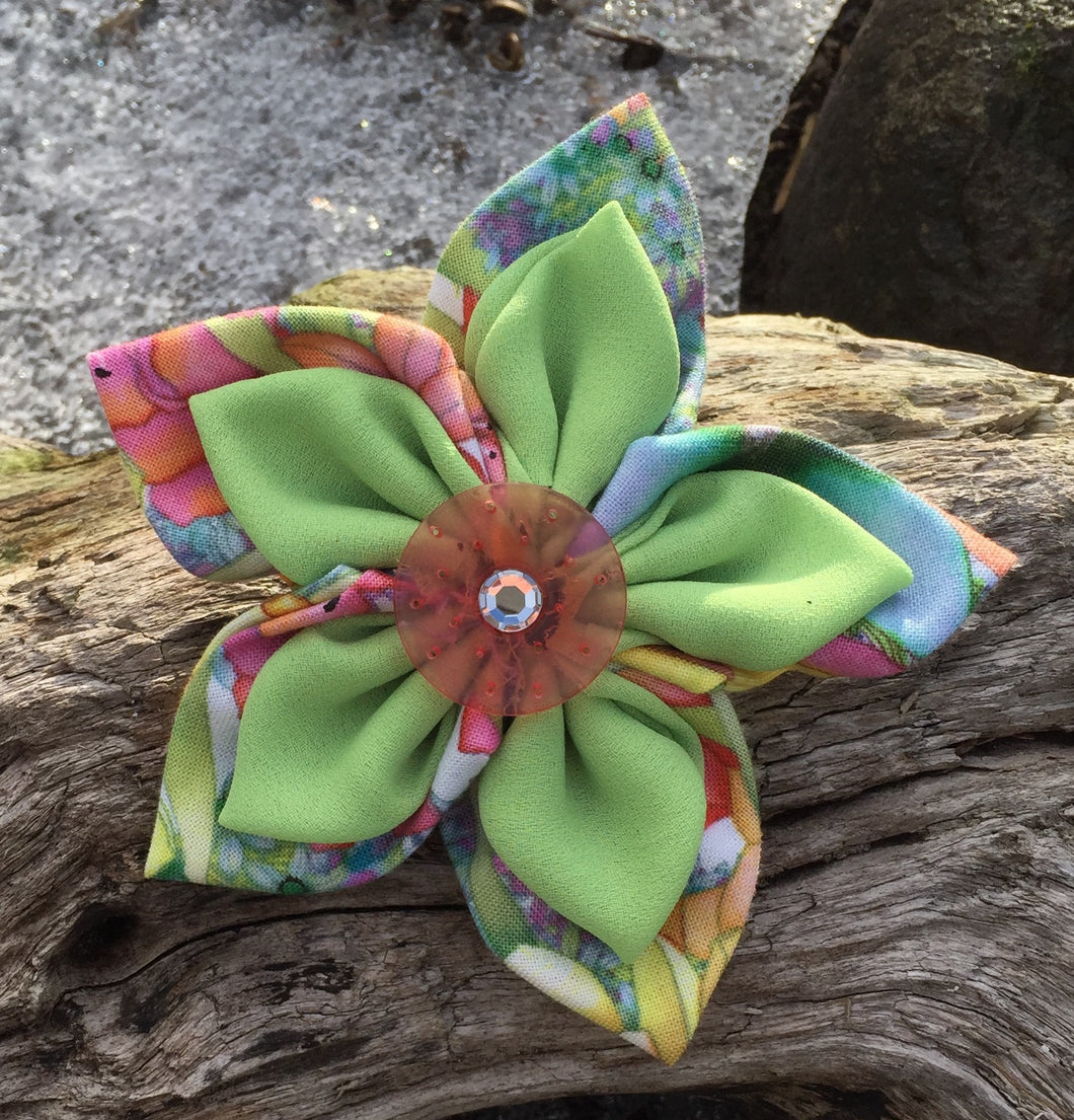 Fabric Flower - Spring Print with Pale Green