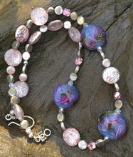 Load image into Gallery viewer, Lampwork Glass Necklace - Violet Swirled with Pink Accents