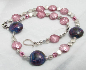 Lampwork Glass Necklace - Violet Swirled with Pink Accents