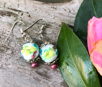 White Rose Pastel Lampwork Glass Earrings