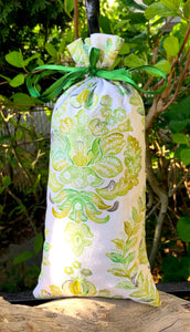 White and Green Floral Brocade Pattern