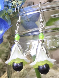 White Lime and Dark Purple Tulip Style Earrings