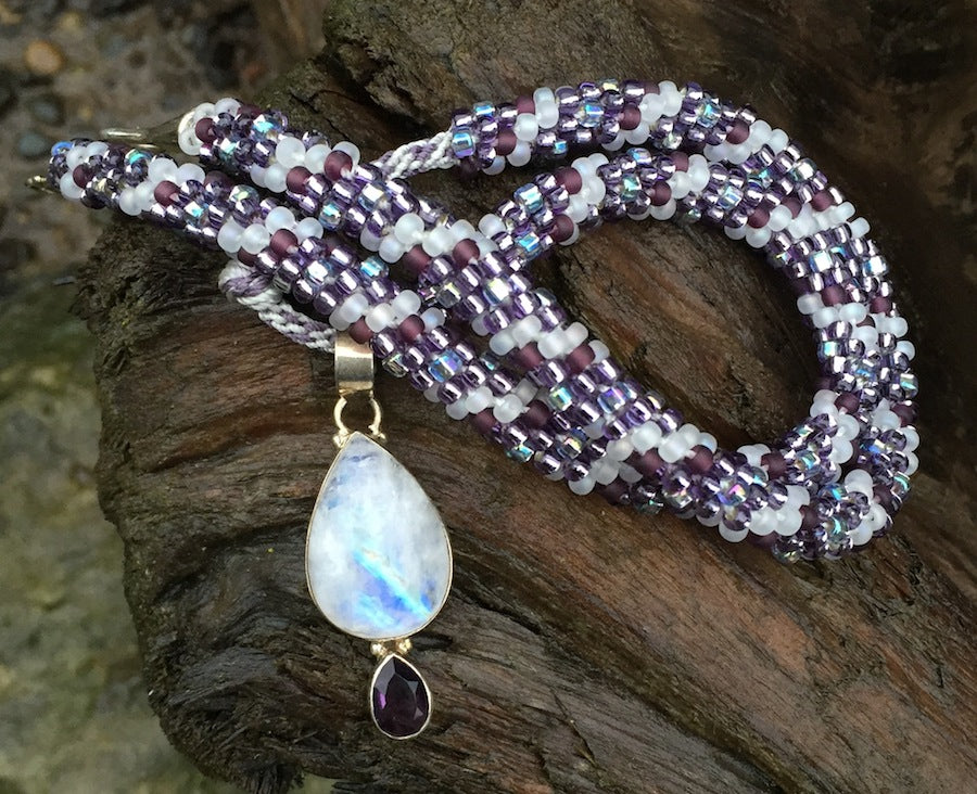 Kumihimo Necklace - White Quartz and Amethyst