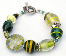 Load image into Gallery viewer, Lampwork Glass Bracelet - Yellow Green Clear