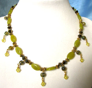 Mineral Necklace and Earrings Set - Yellow Jade and Crystal