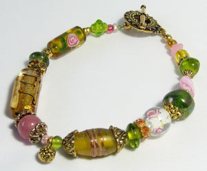 Lampwork Bracelet - Yellow Pink Green Gold