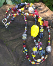 Load image into Gallery viewer, Lampwork Glass Necklace - Double Strand Black Red & Yellow