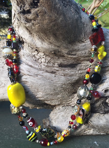 Lampwork Glass Necklace - Double Strand Black Red & Yellow
