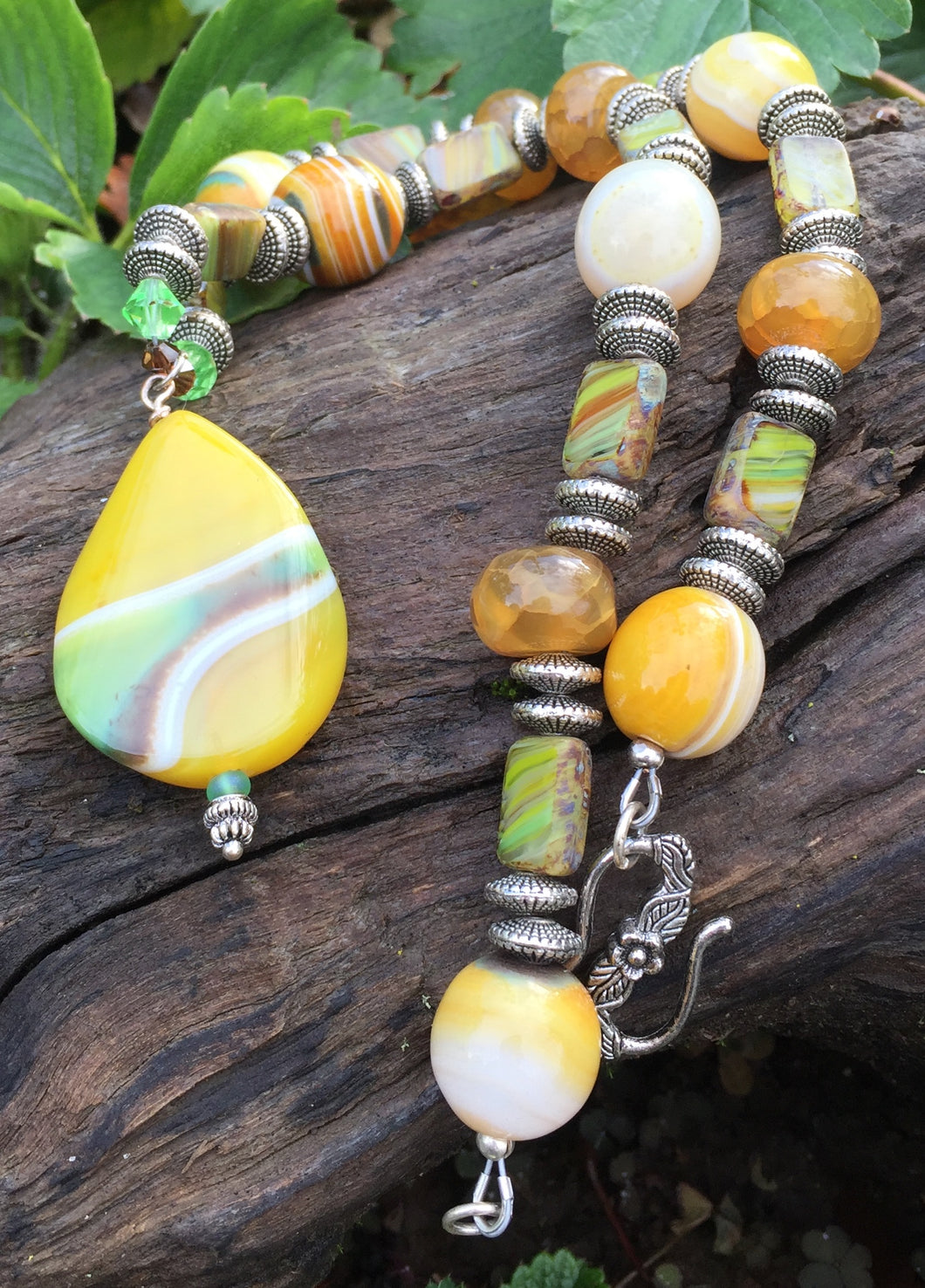 Mineral Necklace - Yellow and Green Onyx