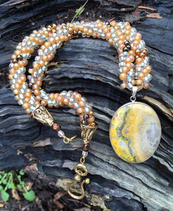 Kumihimo Necklace - Yellow Pale Green Jasper Pendant