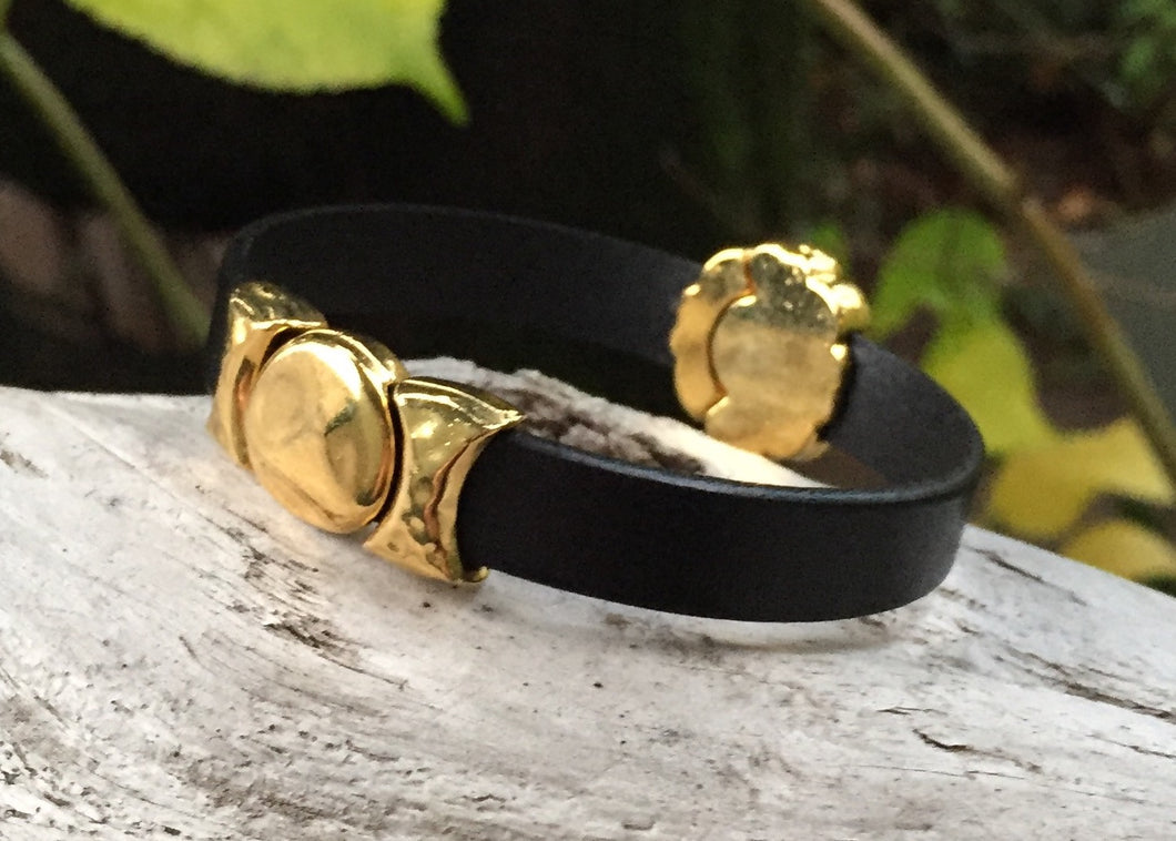 Leather Bracelet - Black with Hammered Gold Components