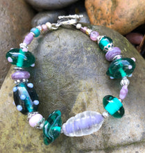 Load image into Gallery viewer, Lampwork Glass Bracelet - Dark Teal Green and Lavender