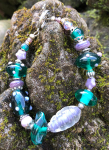 Lampwork Glass Bracelet - Dark Teal Green and Lavender
