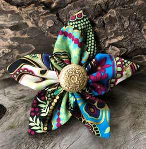 Fabric Flower - Turquoise Magenta Black Gold
