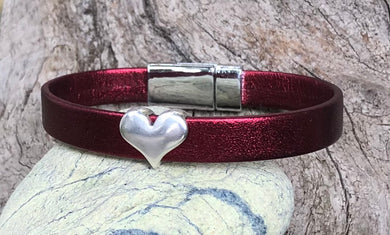 Leather Bracelet - Red Leather with Silver Heart
