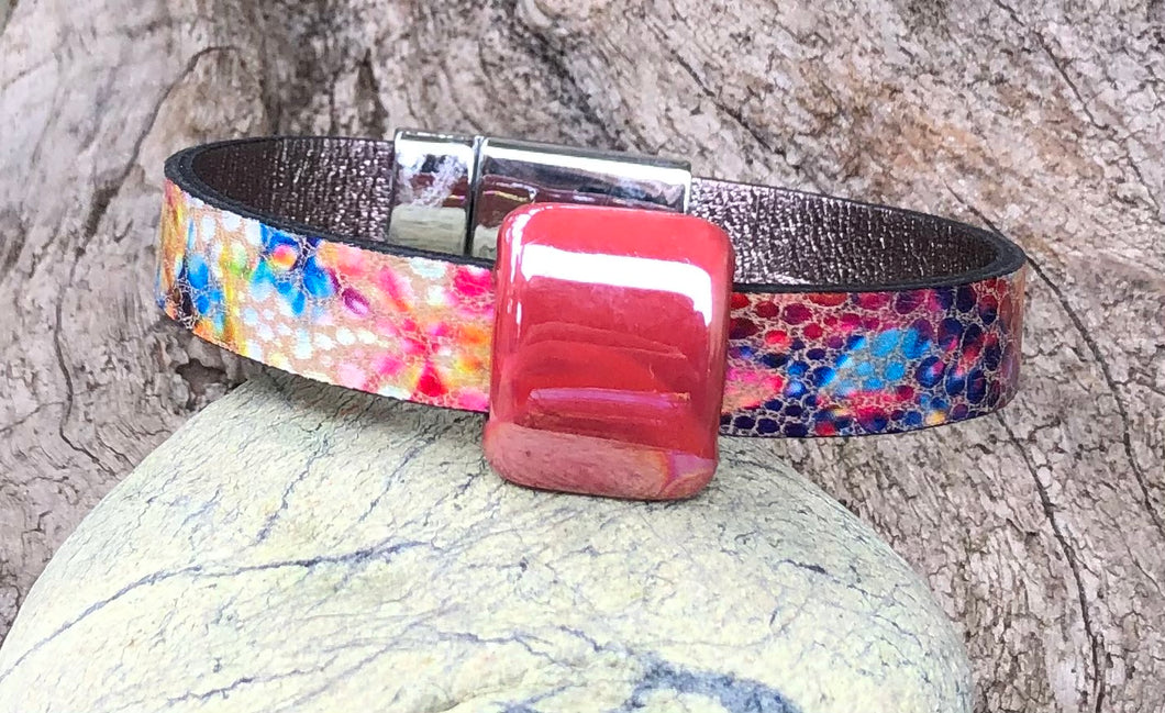 Leather Bracelet - Colors with Silver and Ceramic Slider