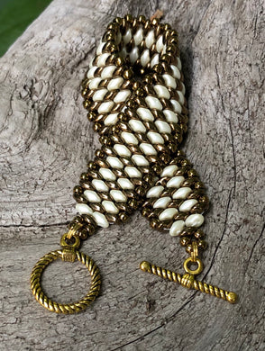 Snakeskin Bracelet - Bronze and Cream