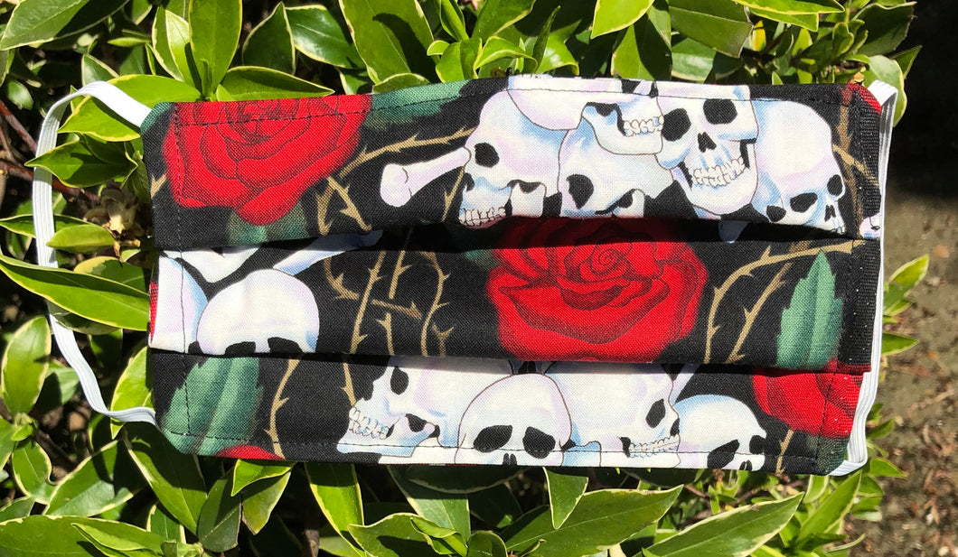 Face Mask Skulls and Roses