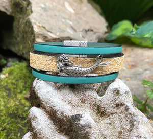 Leather Bracelet - Triple Banded leather with Mermaid
