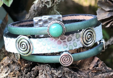 Leather Bracelet - Triple Band Sage with Jade