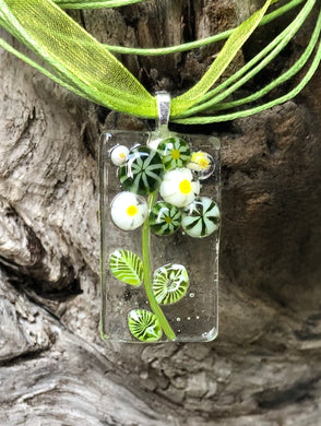 Meadow Blooms Fused Glass Pendant