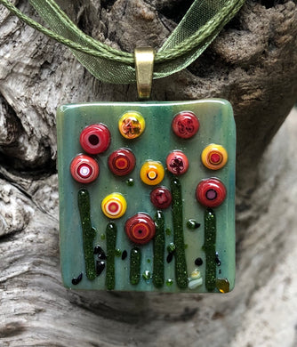 Sea Blooms Fused Glass Pendant