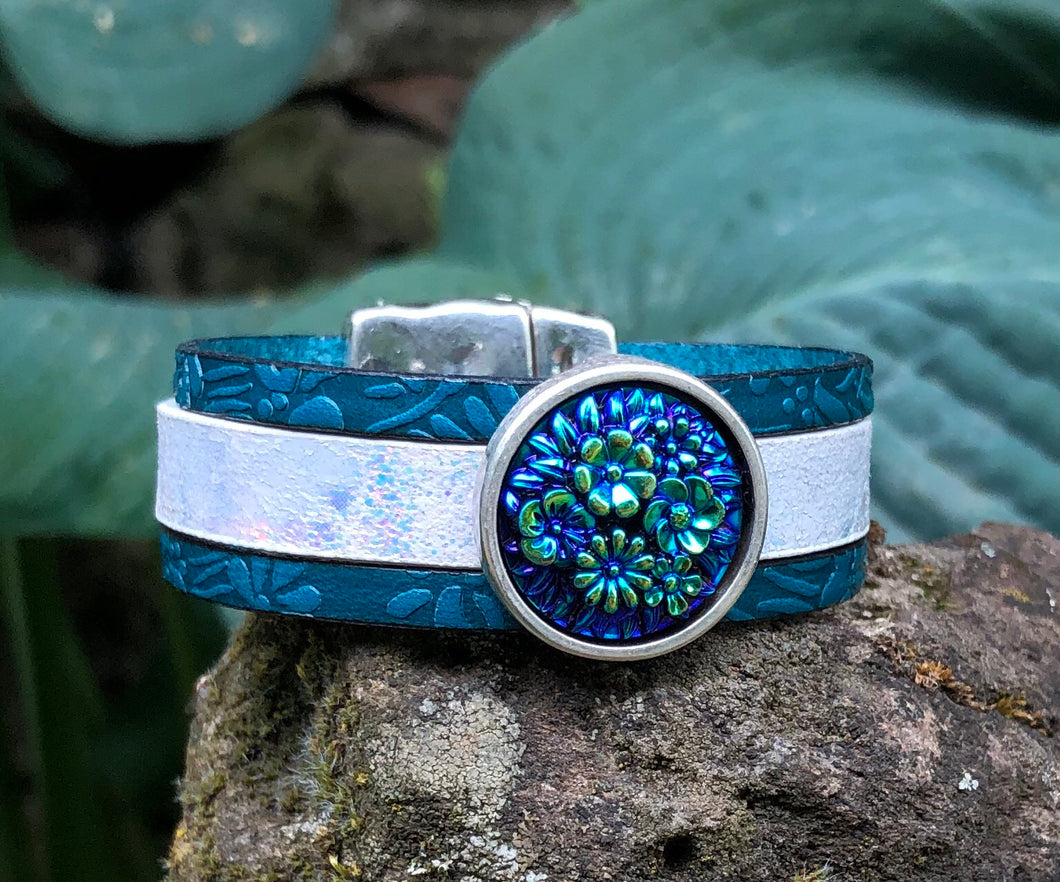 Leather Bracelet - Iridescent and Teal with Czech glass slider