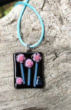 Load image into Gallery viewer, Trio of Blooms Fused Glass Pendant