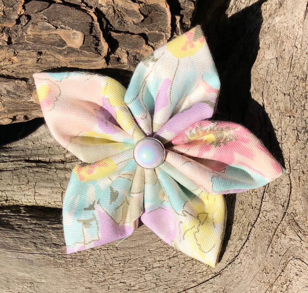Fabric Flower - pastel Flowers with iridescent button