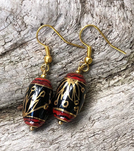 "Handpainted, Lacquered Earrings Black Red and Gold - These elegant earrings measure approximately 1 1/2""."