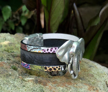 Load image into Gallery viewer, Leather Bracelet - Triple band with Elephant