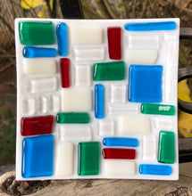 Load image into Gallery viewer, Checkerboard Style Fused Glass Dish