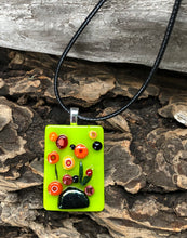 Load image into Gallery viewer, Poppies on a Rock Fused Glass Pendant