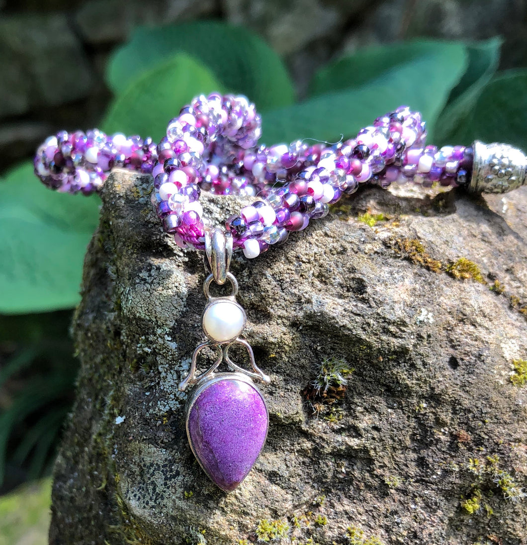 Kumihimo Necklace - Purpurite and Pearl