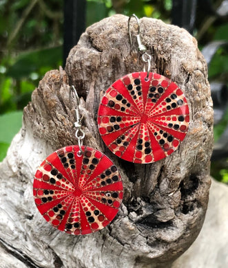 Shell Earrings - Red Cone Shell Matrix
